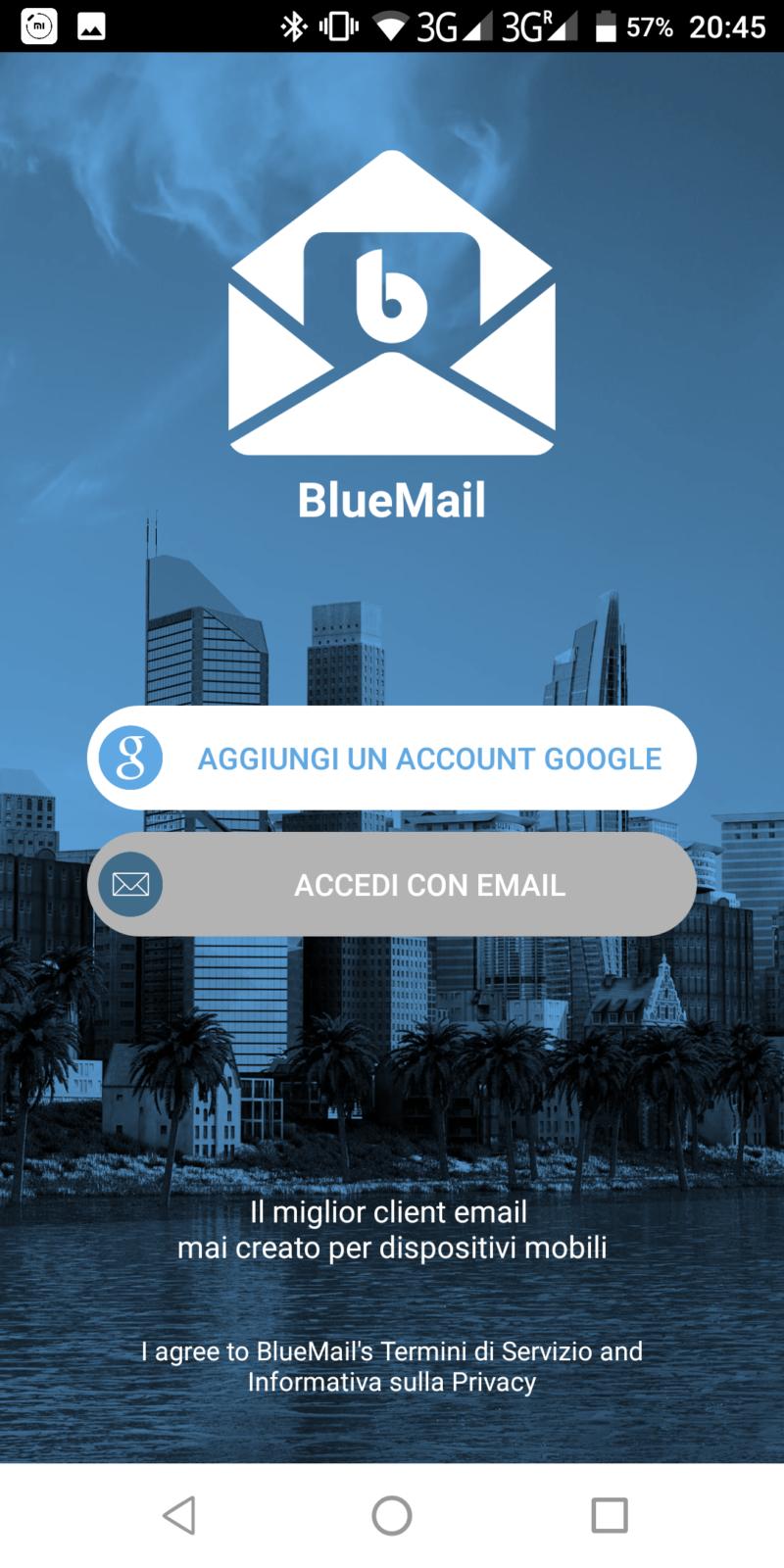 BlueMail applicazione per android in grado di gestire account email